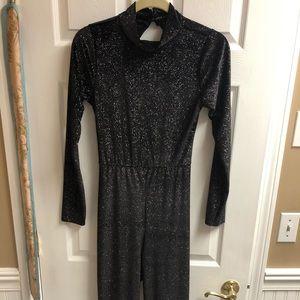 Black Glitter Open Back Jumpsuit